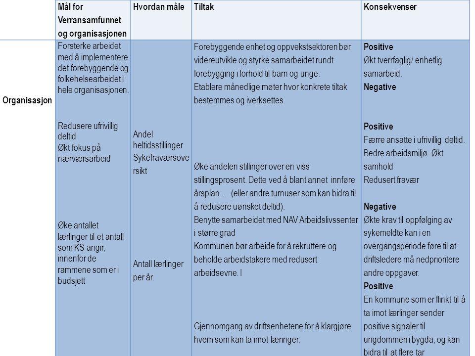Mål for Verransamfunnet og organisasjonen. Hvordan måle. Tiltak. Konsekvenser. Organisasjon.