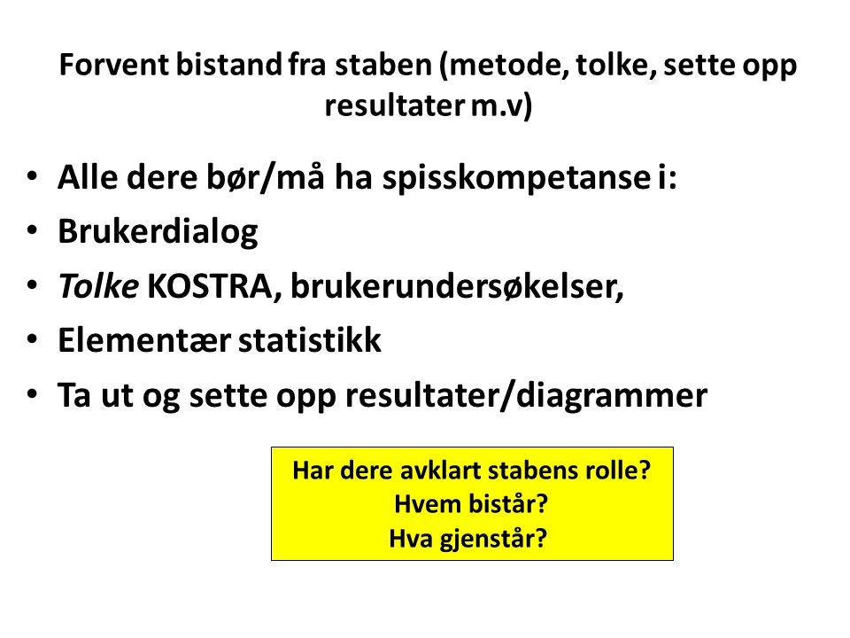 Forvent bistand fra staben (metode, tolke, sette opp resultater m.v)