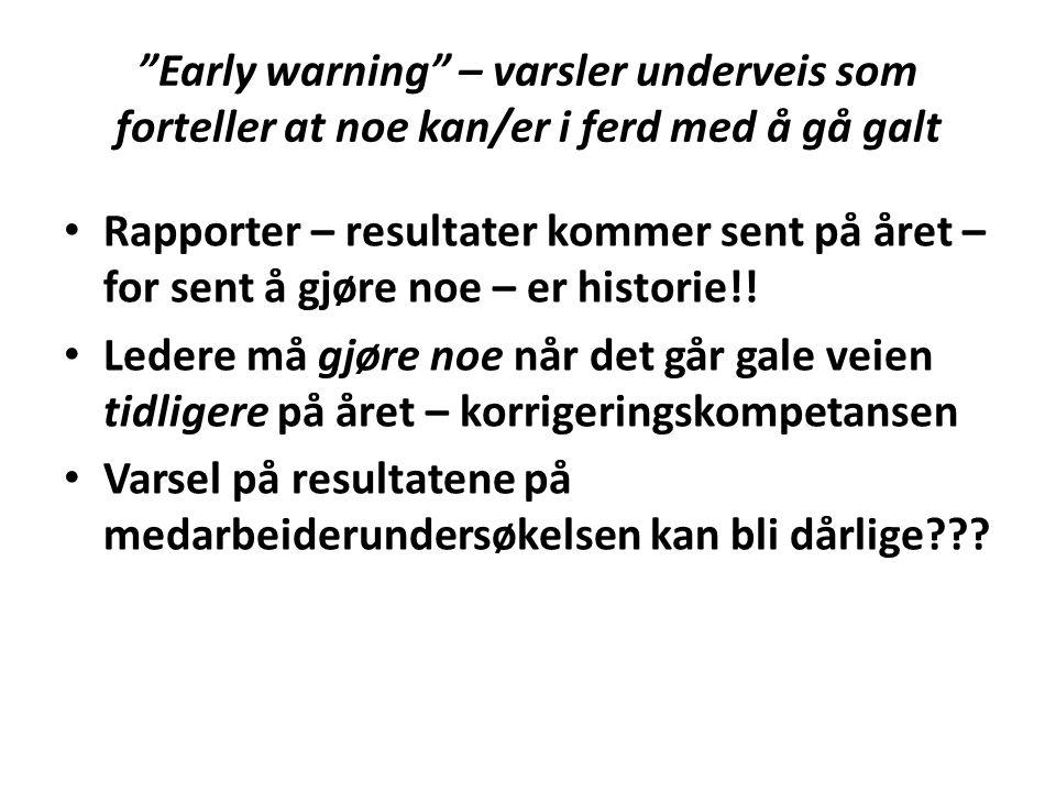 Early warning – varsler underveis som forteller at noe kan/er i ferd med å gå galt