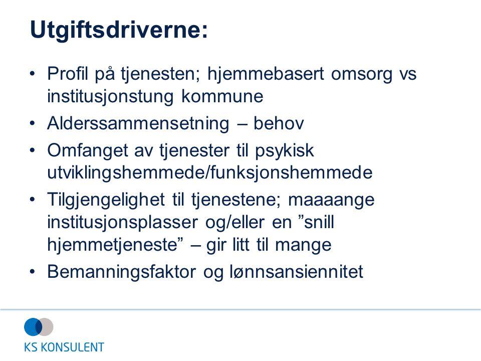 Utgiftsdriverne: Profil på tjenesten; hjemmebasert omsorg vs institusjonstung kommune. Alderssammensetning – behov.