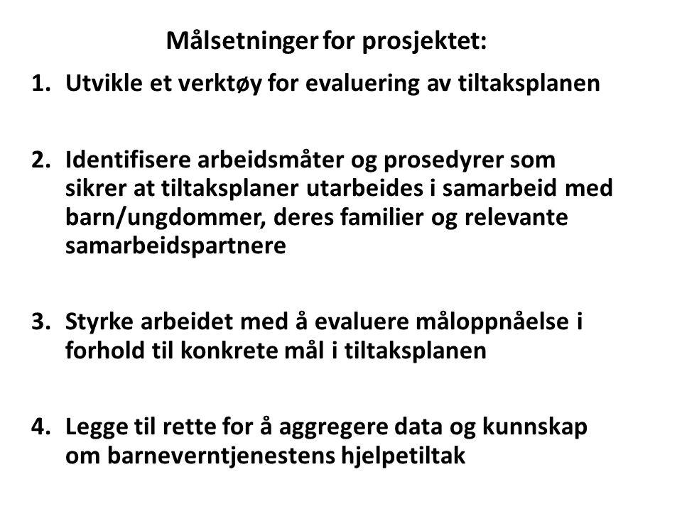 Målsetninger for prosjektet:
