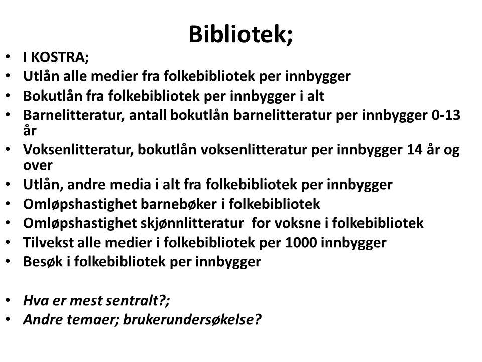Bibliotek; I KOSTRA; Utlån alle medier fra folkebibliotek per innbygger. Bokutlån fra folkebibliotek per innbygger i alt.