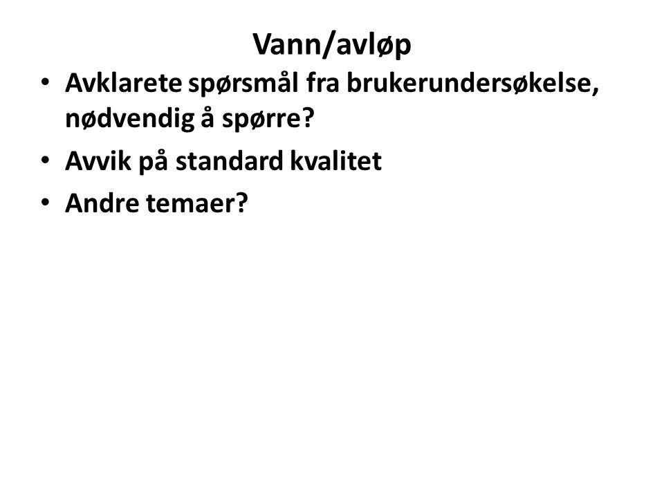 Vann/avløp Avklarete spørsmål fra brukerundersøkelse, nødvendig å spørre Avvik på standard kvalitet.