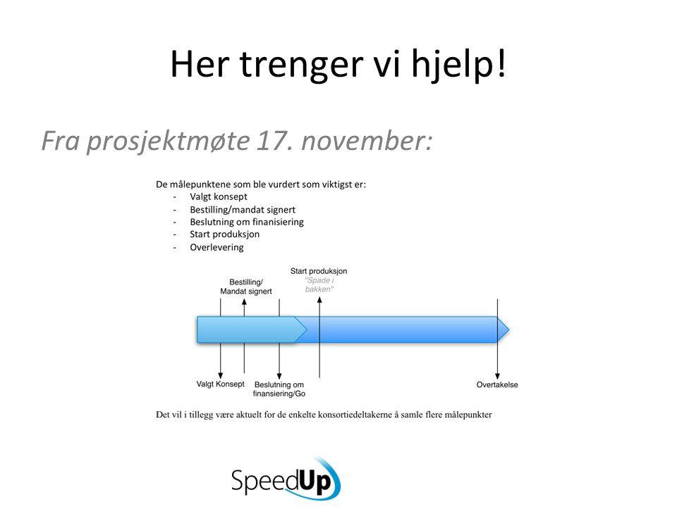 Her trenger vi hjelp! Fra prosjektmøte 17. november: