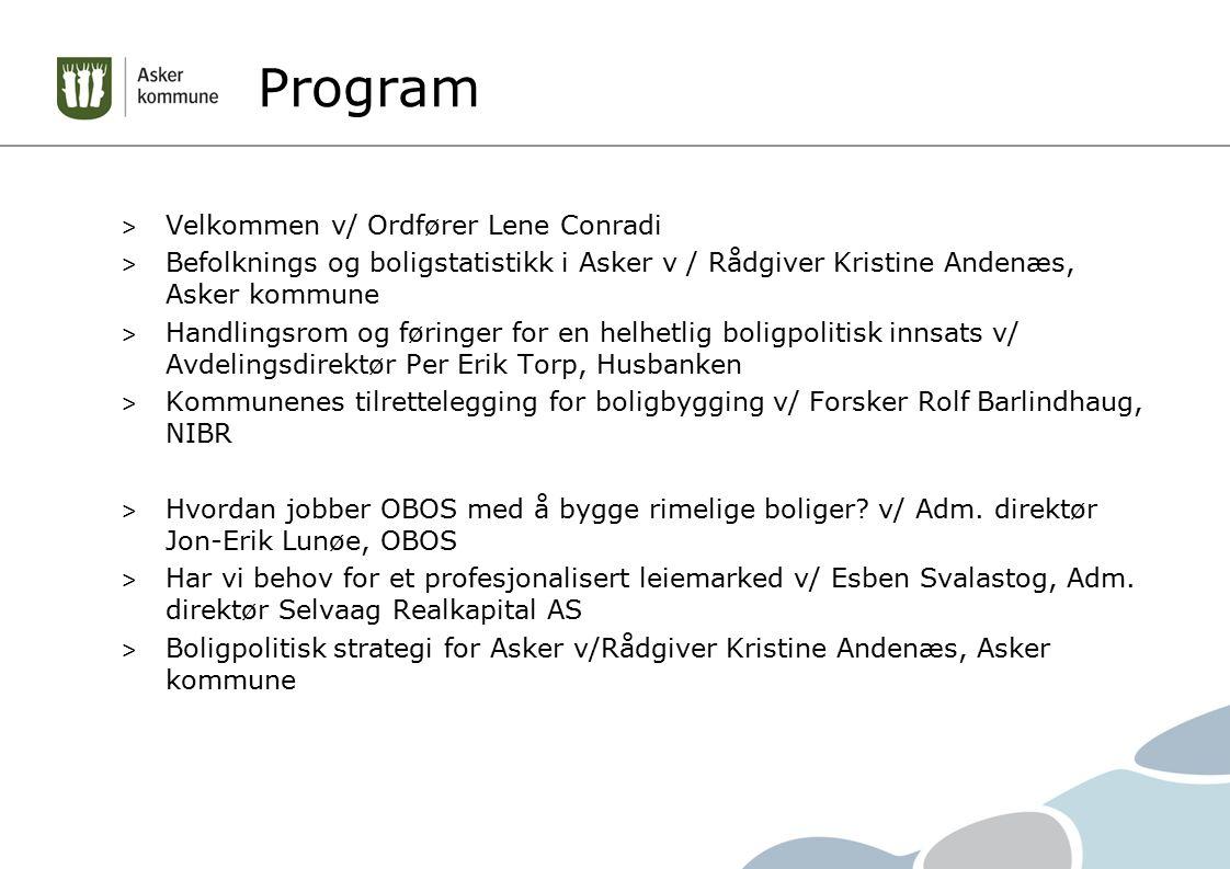 Program Velkommen v/ Ordfører Lene Conradi