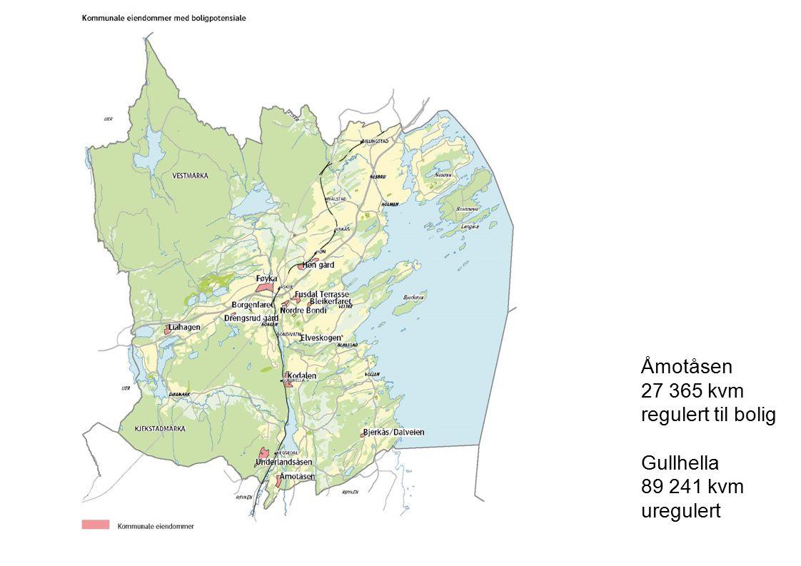 Åmotåsen 27 365 kvm regulert til bolig Gullhella 89 241 kvm uregulert