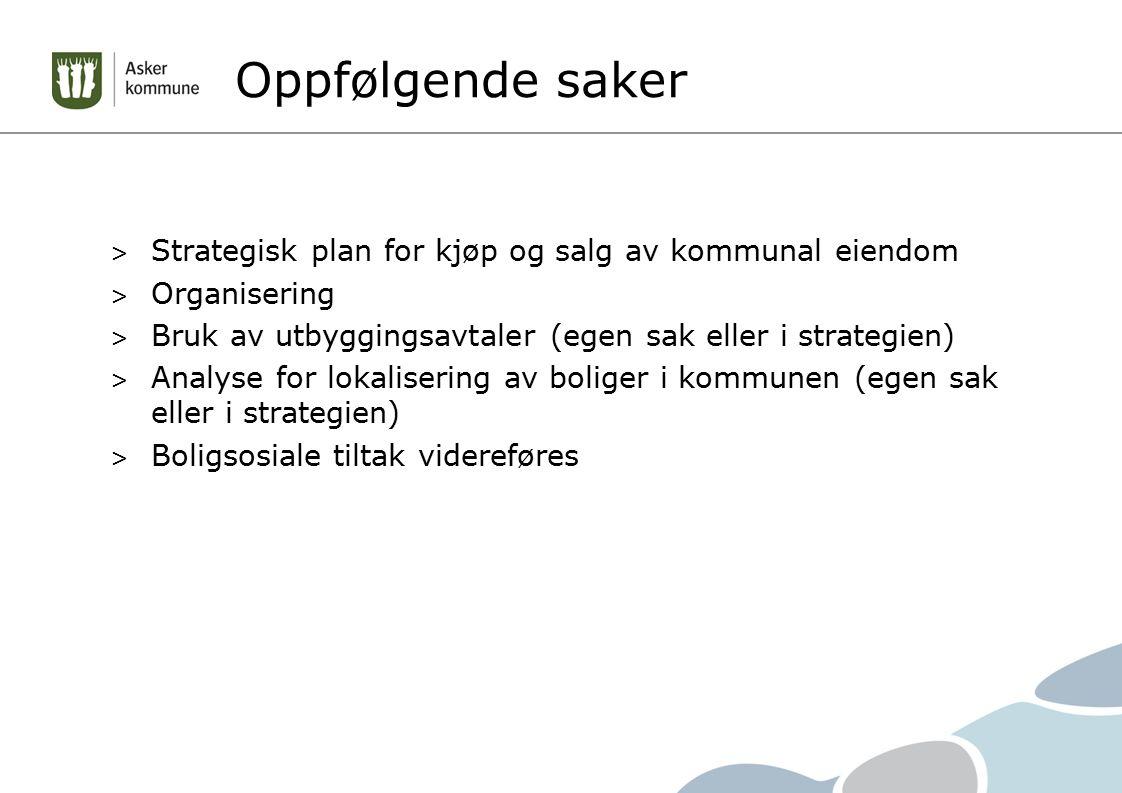 Oppfølgende saker Strategisk plan for kjøp og salg av kommunal eiendom