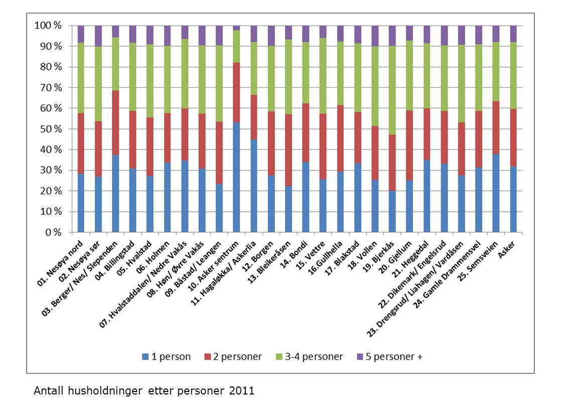 Antall husholdninger etter personer 2011