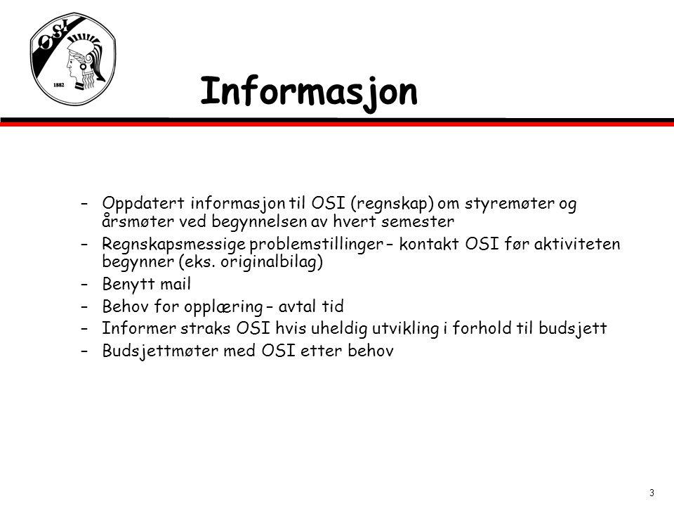 Informasjon Oppdatert informasjon til OSI (regnskap) om styremøter og årsmøter ved begynnelsen av hvert semester.
