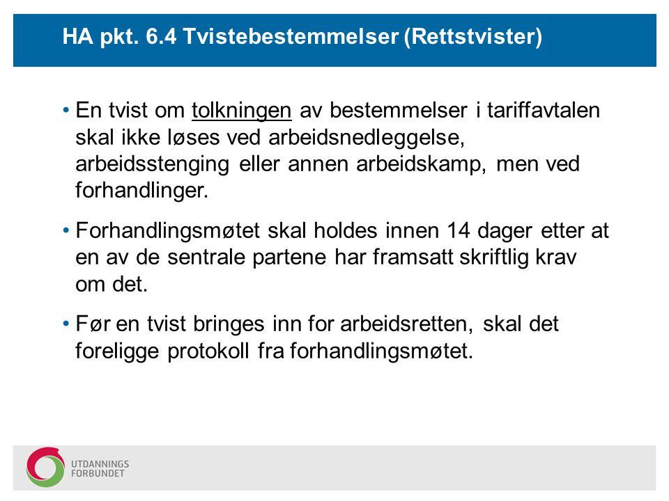 HA pkt. 6.4 Tvistebestemmelser (Rettstvister)