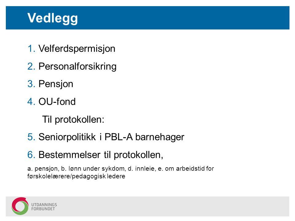 Vedlegg Velferdspermisjon Personalforsikring Pensjon OU-fond
