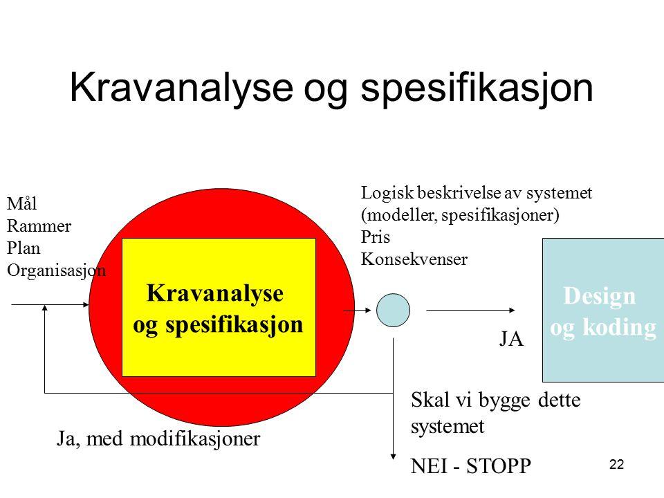 Kravanalyse og spesifikasjon