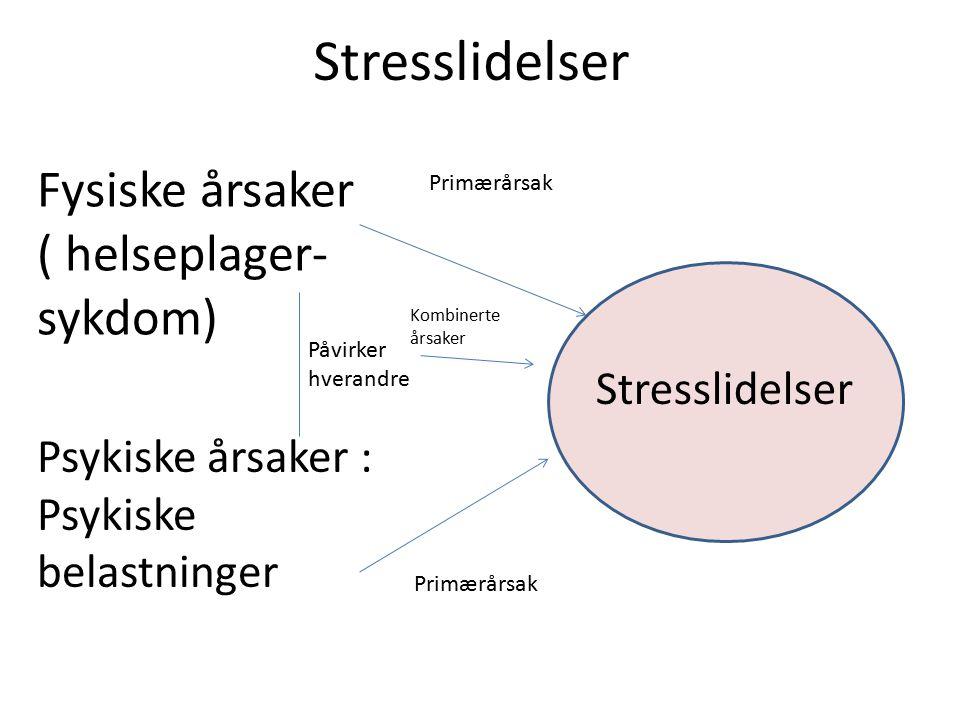 Stresslidelser Fysiske årsaker ( helseplager-sykdom) Stresslidelser