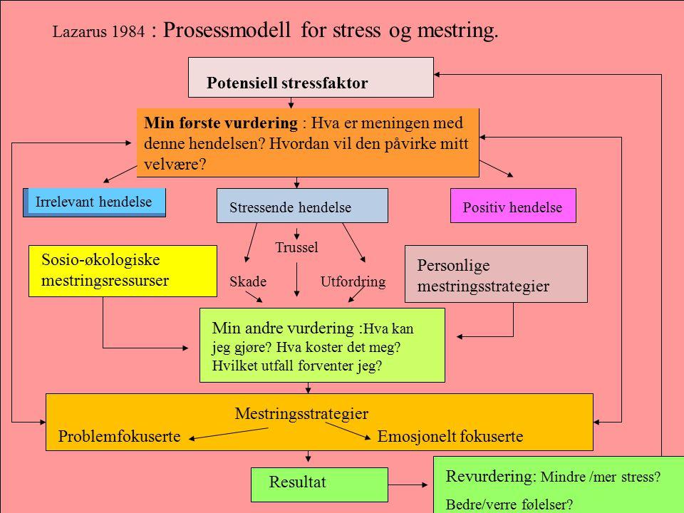Lazarus 1984 : Prosessmodell for stress og mestring.