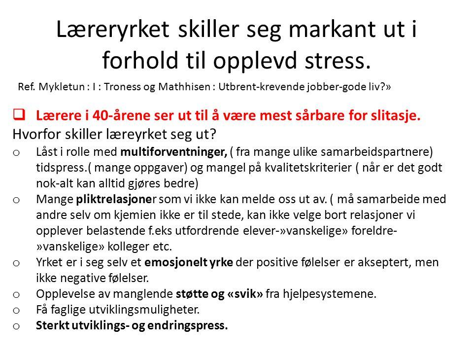 Læreryrket skiller seg markant ut i forhold til opplevd stress.