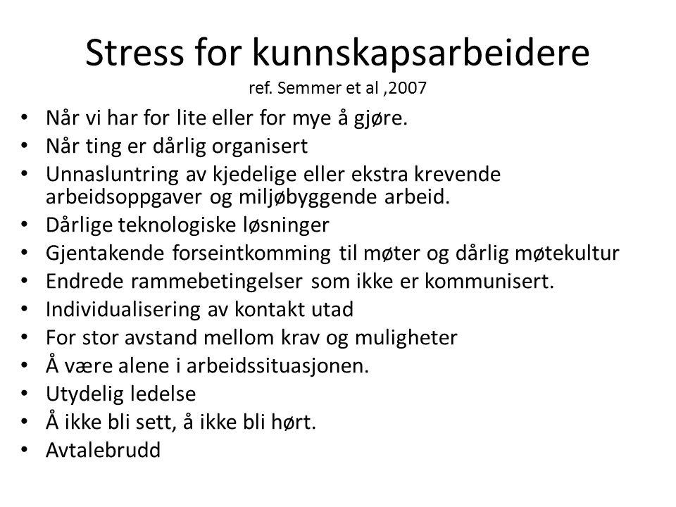 Stress for kunnskapsarbeidere ref. Semmer et al ,2007