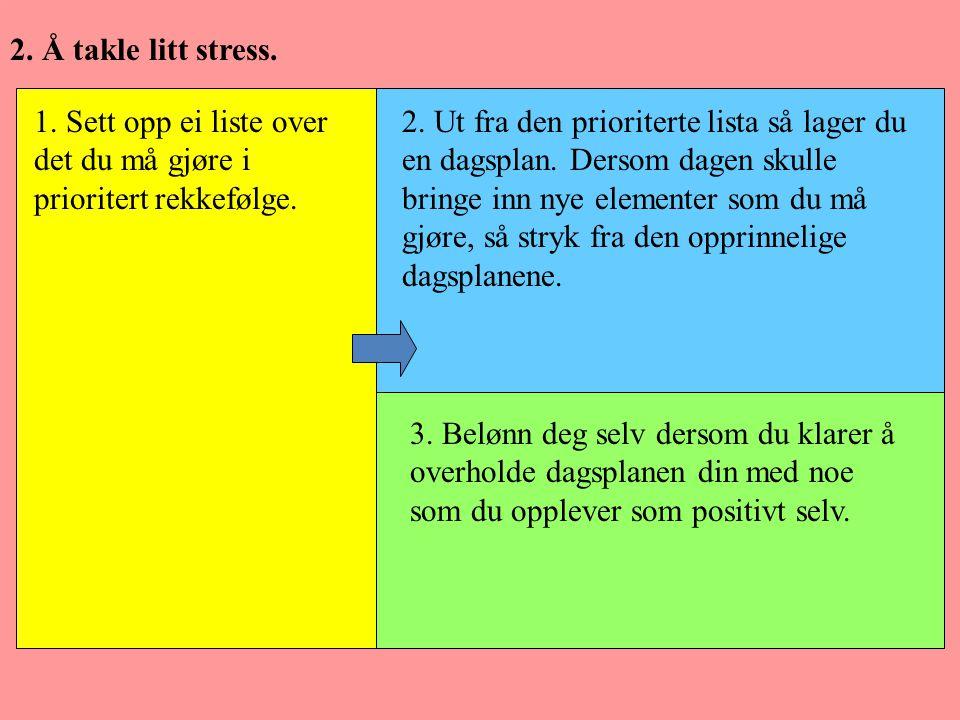 2. Å takle litt stress. 1. Sett opp ei liste over det du må gjøre i prioritert rekkefølge.