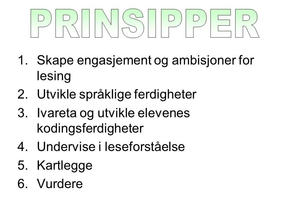 PRINSIPPER Skape engasjement og ambisjoner for lesing
