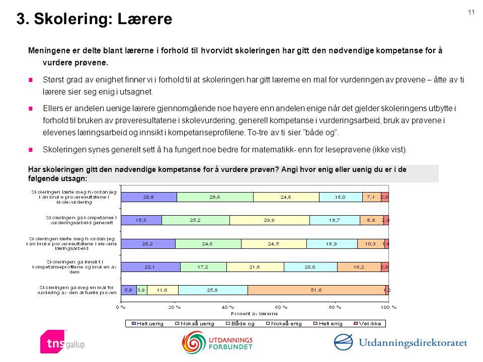 3. Skolering: Lærere Meningene er delte blant lærerne i forhold til hvorvidt skoleringen har gitt den nødvendige kompetanse for å vurdere prøvene.