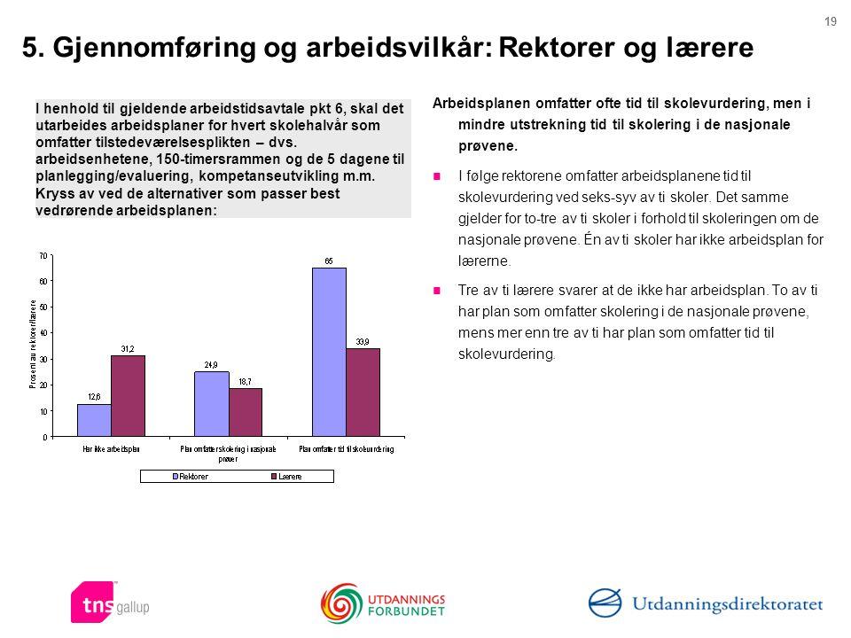 5. Gjennomføring og arbeidsvilkår: Rektorer og lærere