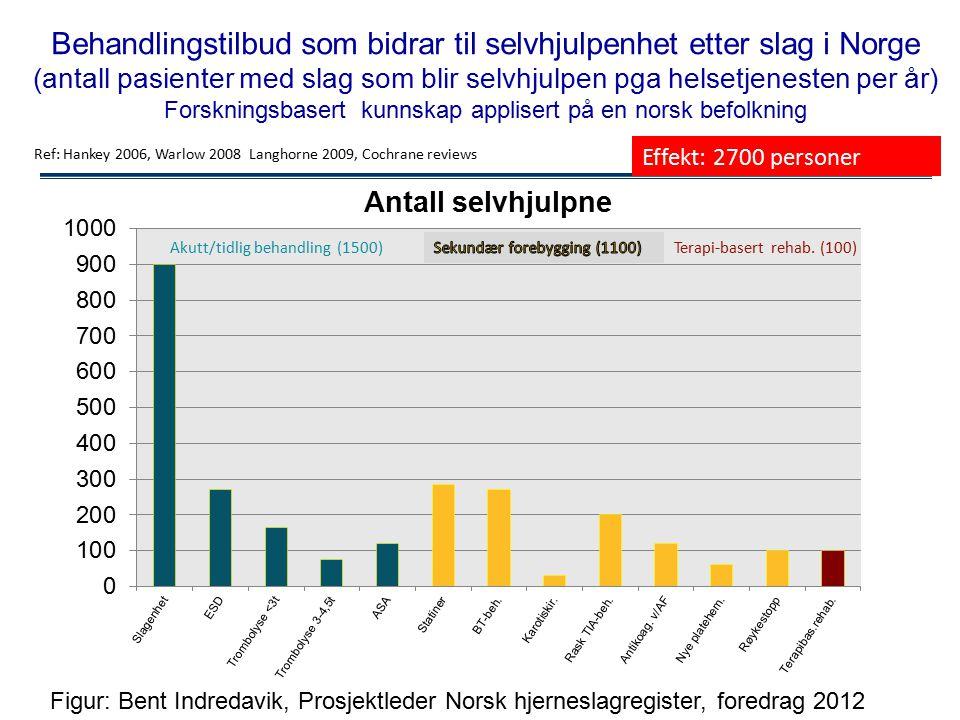Behandlingstilbud som bidrar til selvhjulpenhet etter slag i Norge (antall pasienter med slag som blir selvhjulpen pga helsetjenesten per år) Forskningsbasert kunnskap applisert på en norsk befolkning