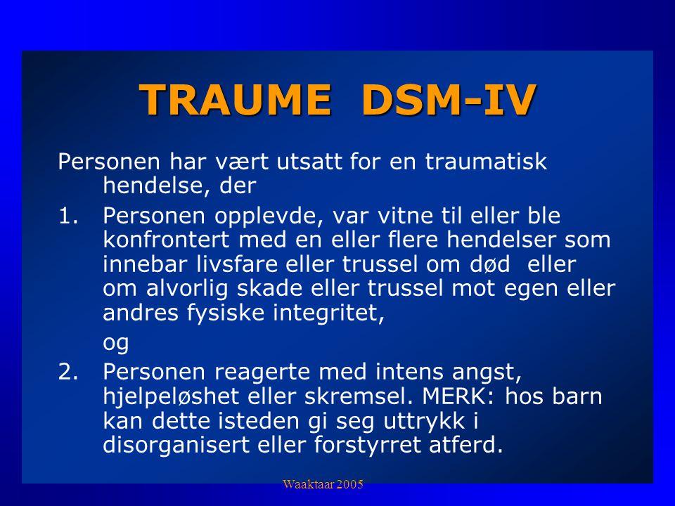 TRAUME DSM-IV Personen har vært utsatt for en traumatisk hendelse, der