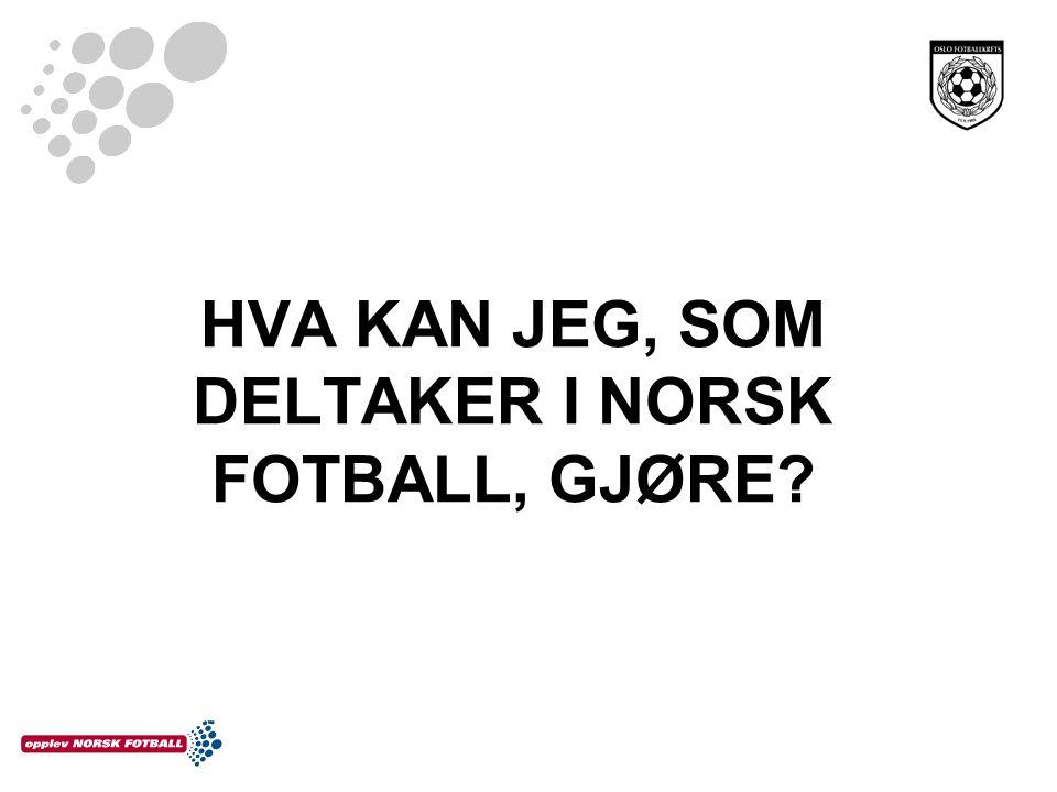 HVA KAN JEG, SOM DELTAKER I NORSK FOTBALL, GJØRE