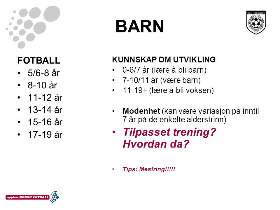 BARN Tilpasset trening Hvordan da FOTBALL 5/6-8 år 8-10 år 11-12 år