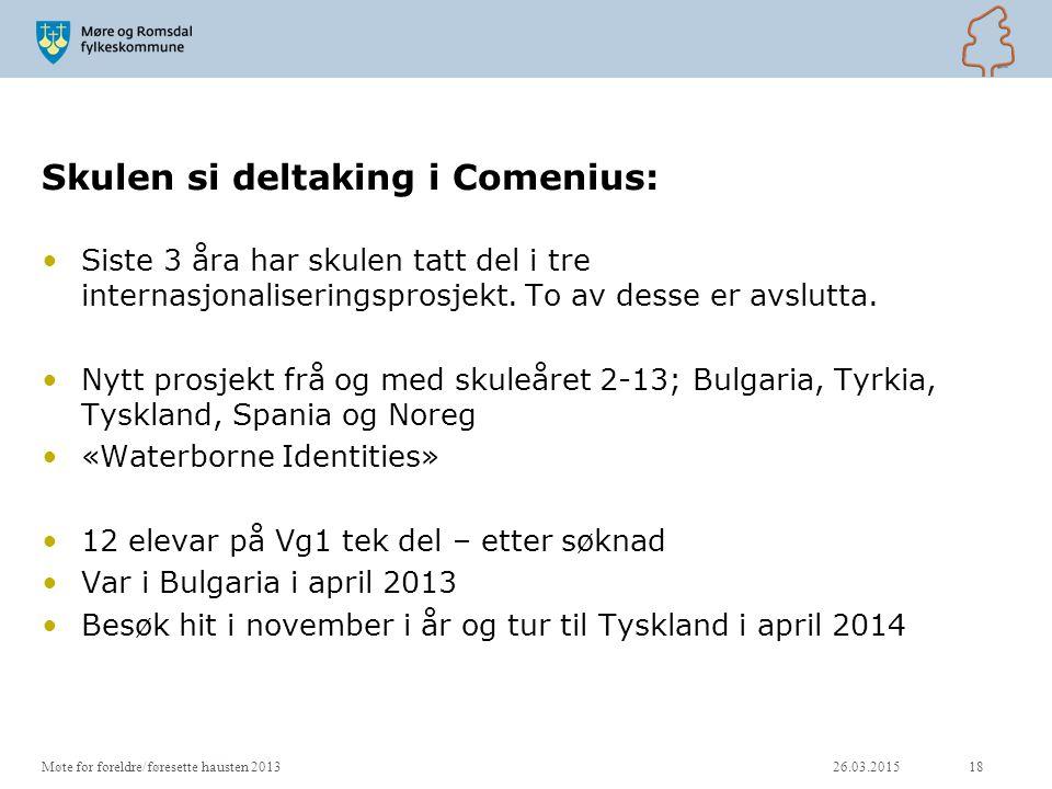Skulen si deltaking i Comenius: