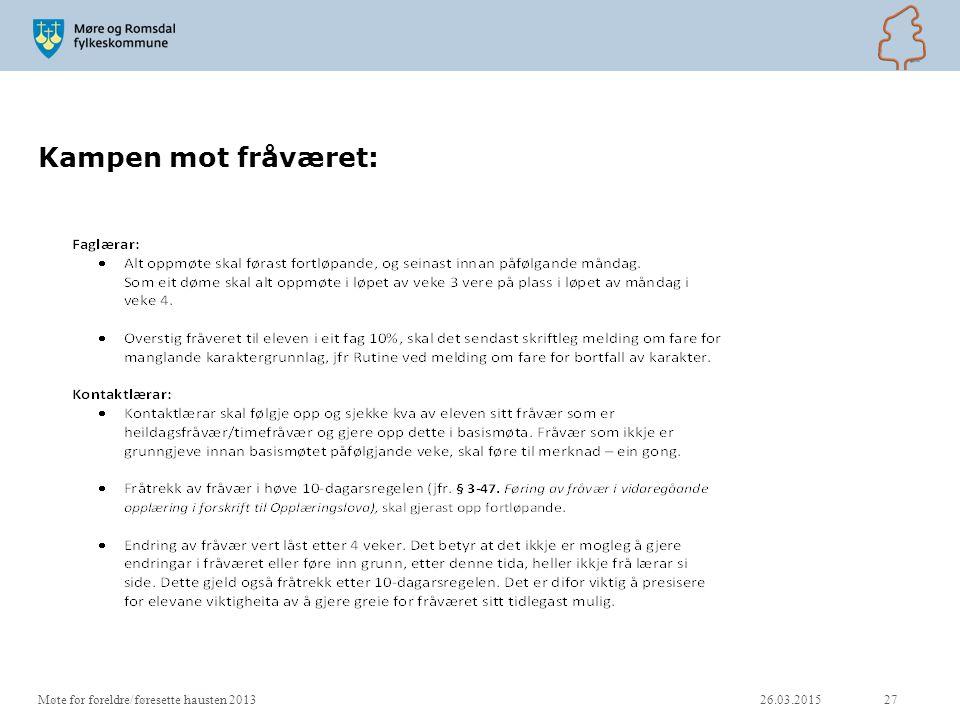 Kampen mot fråværet: Møte for foreldre/føresette hausten 2013