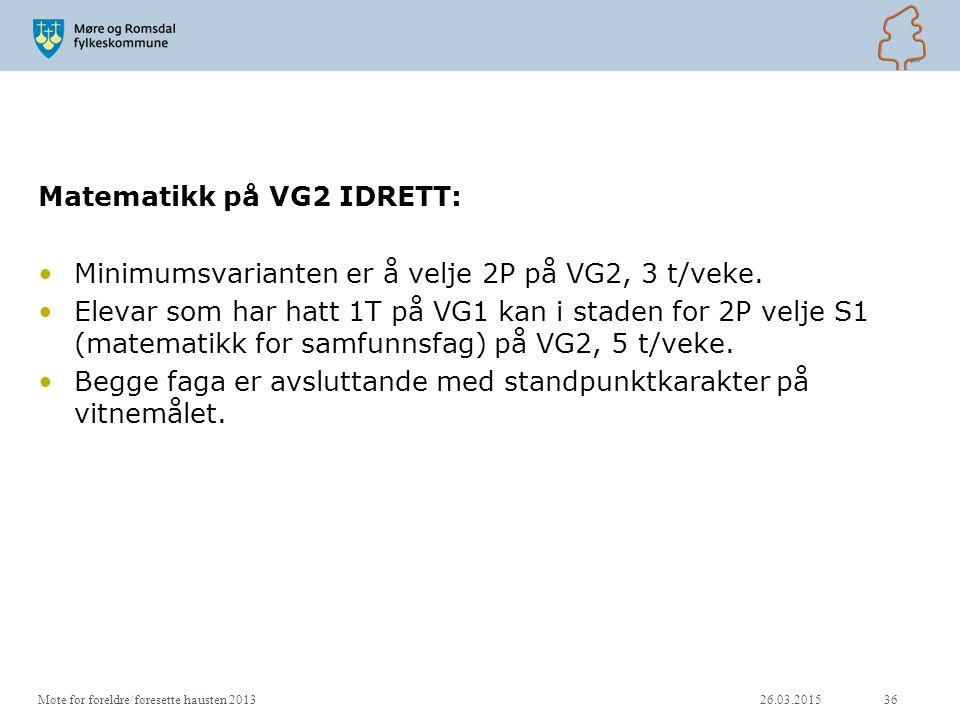 Matematikk på VG2 IDRETT: