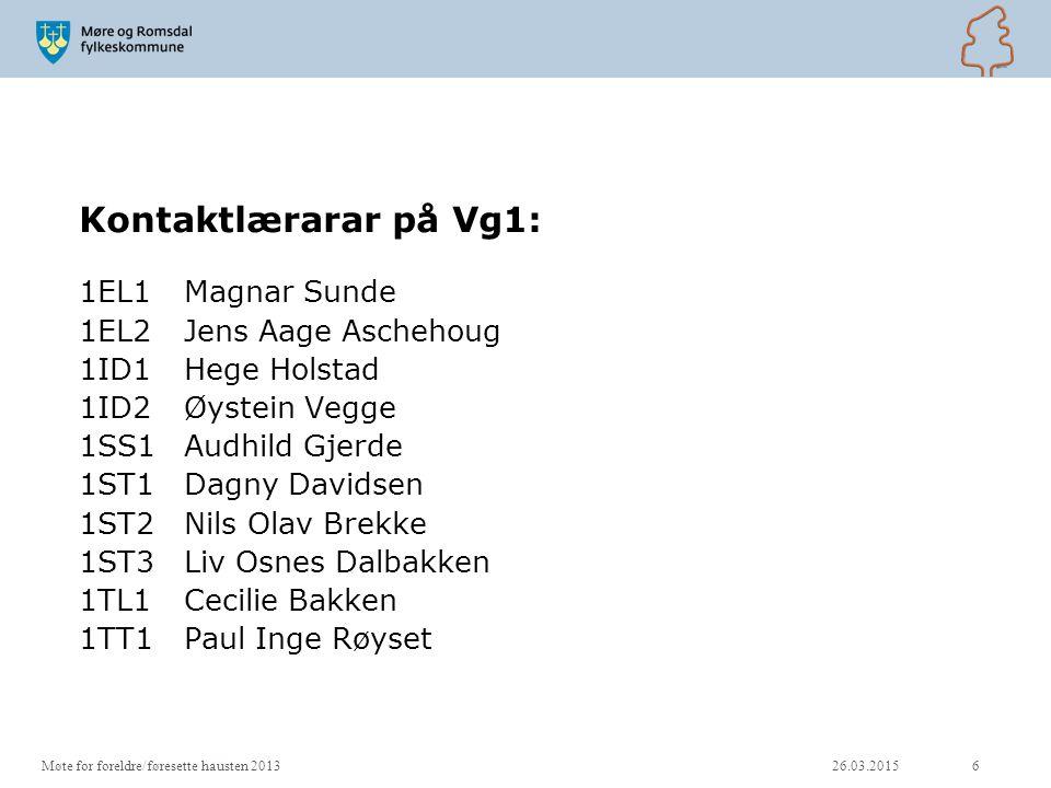 Kontaktlærarar på Vg1: 1EL1 Magnar Sunde 1EL2 Jens Aage Aschehoug