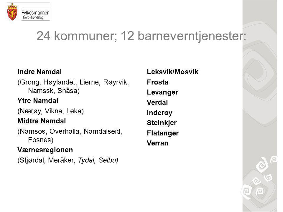 24 kommuner; 12 barneverntjenester: