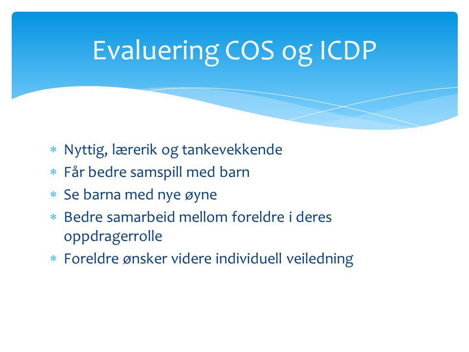 Evaluering COS og ICDP Nyttig, lærerik og tankevekkende