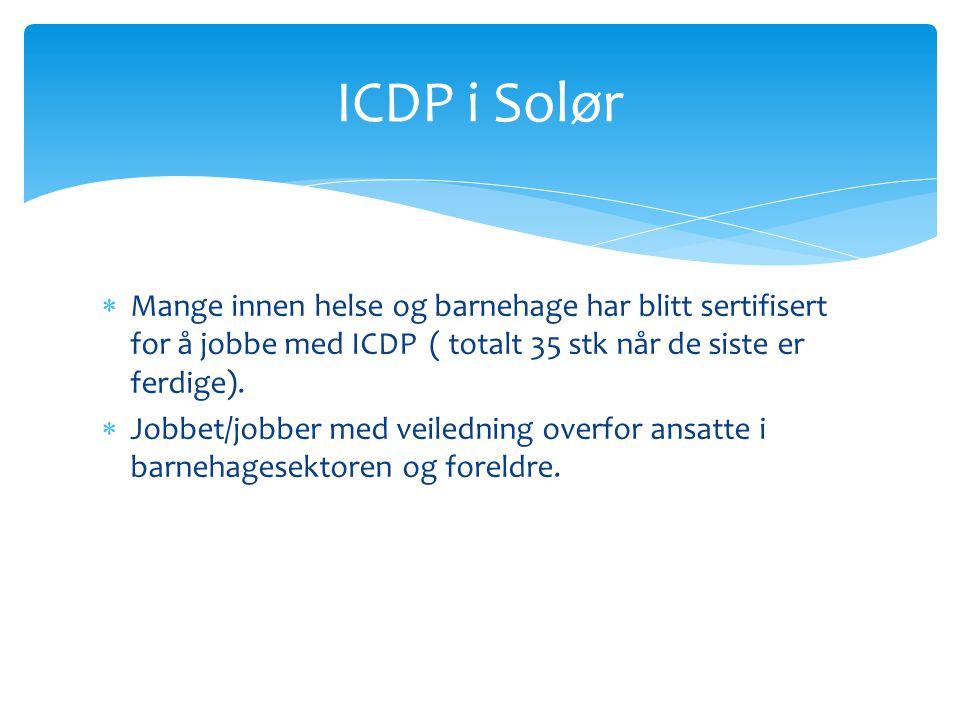 ICDP i Solør Mange innen helse og barnehage har blitt sertifisert for å jobbe med ICDP ( totalt 35 stk når de siste er ferdige).