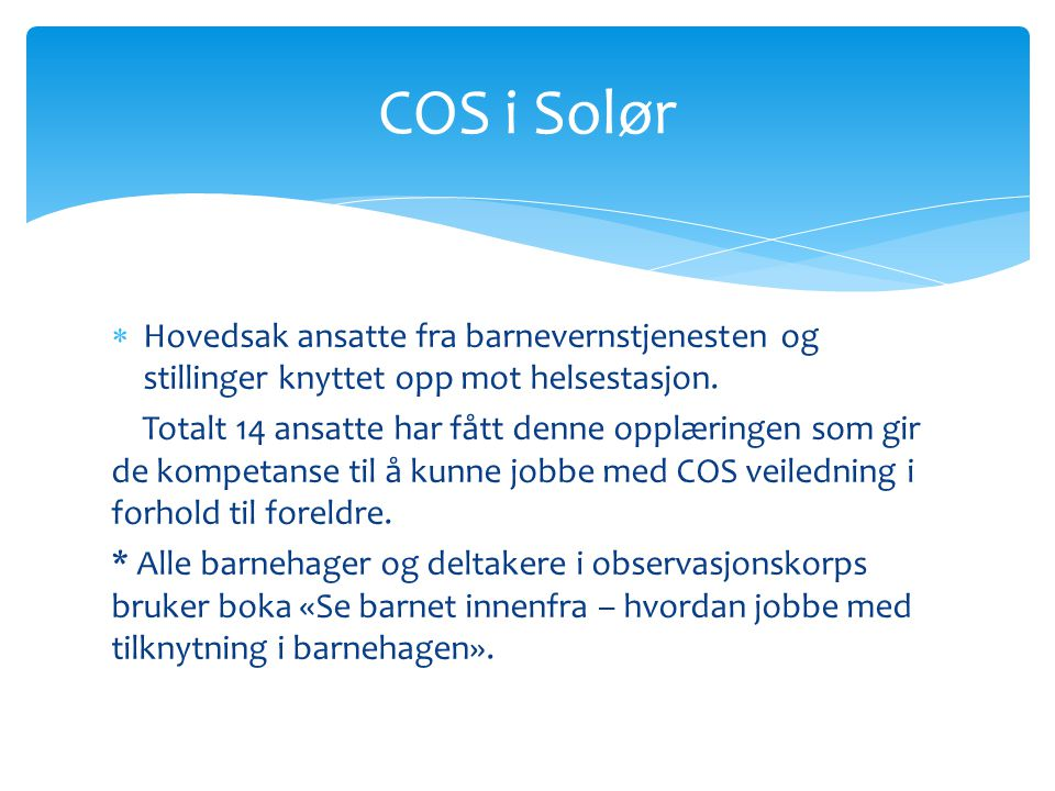 COS i Solør Hovedsak ansatte fra barnevernstjenesten og stillinger knyttet opp mot helsestasjon.