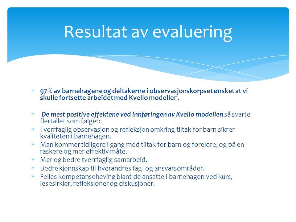 Resultat av evaluering