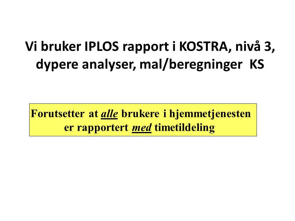 Vi bruker IPLOS rapport i KOSTRA, nivå 3, dypere analyser, mal/beregninger KS