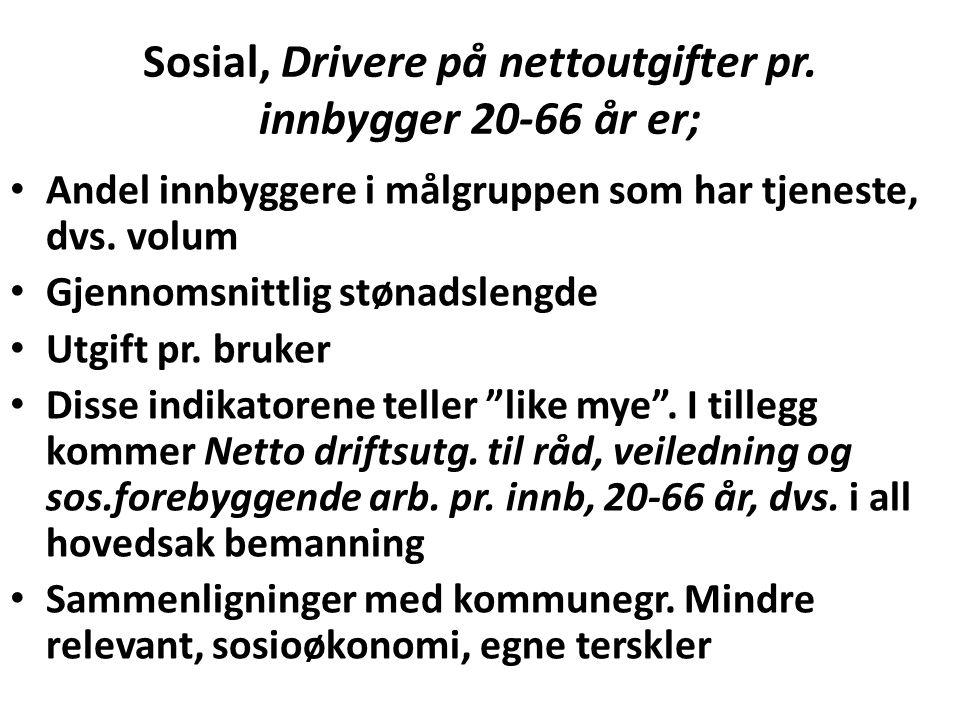 Sosial, Drivere på nettoutgifter pr. innbygger 20-66 år er;