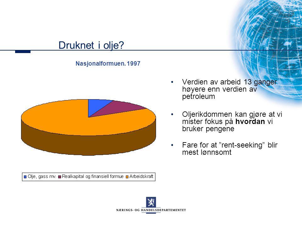 Druknet i olje Nasjonalformuen. 1997. Verdien av arbeid 13 ganger høyere enn verdien av petroleum.