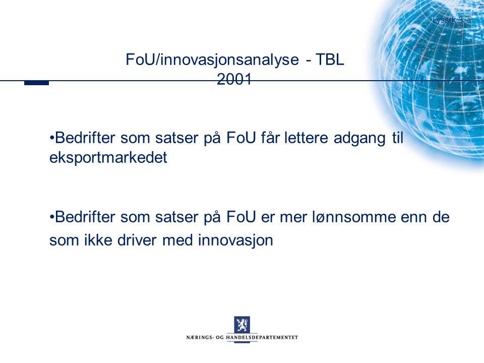 FoU/innovasjonsanalyse - TBL 2001