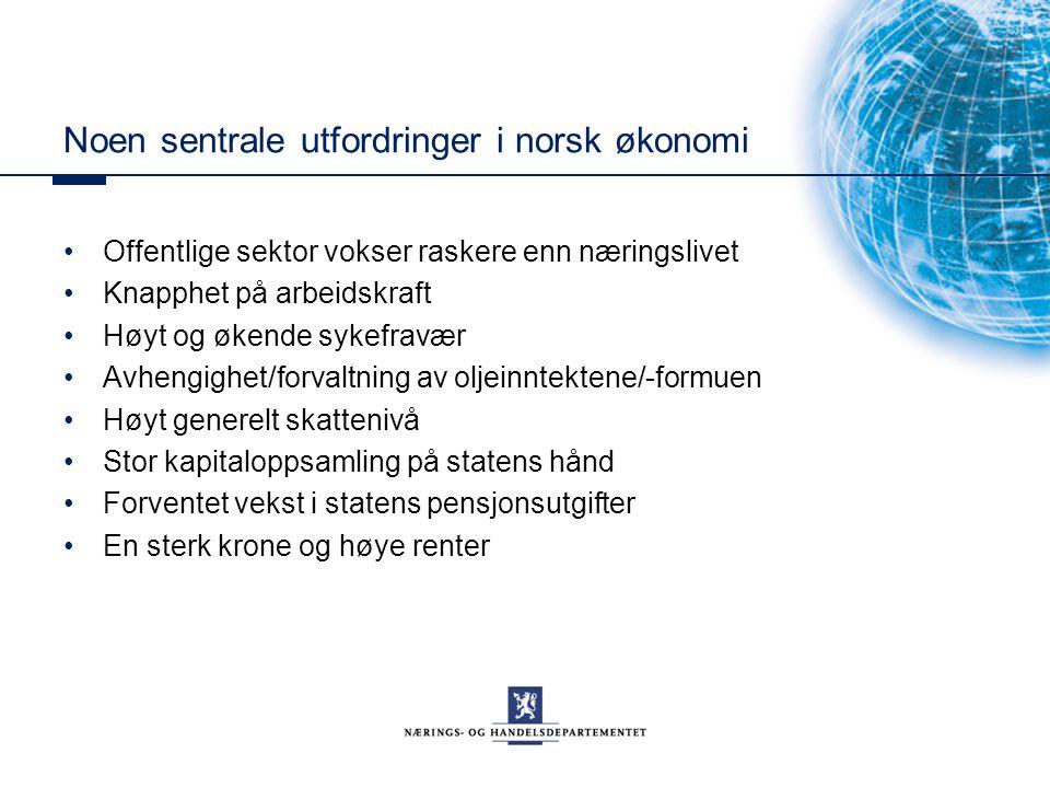 Noen sentrale utfordringer i norsk økonomi