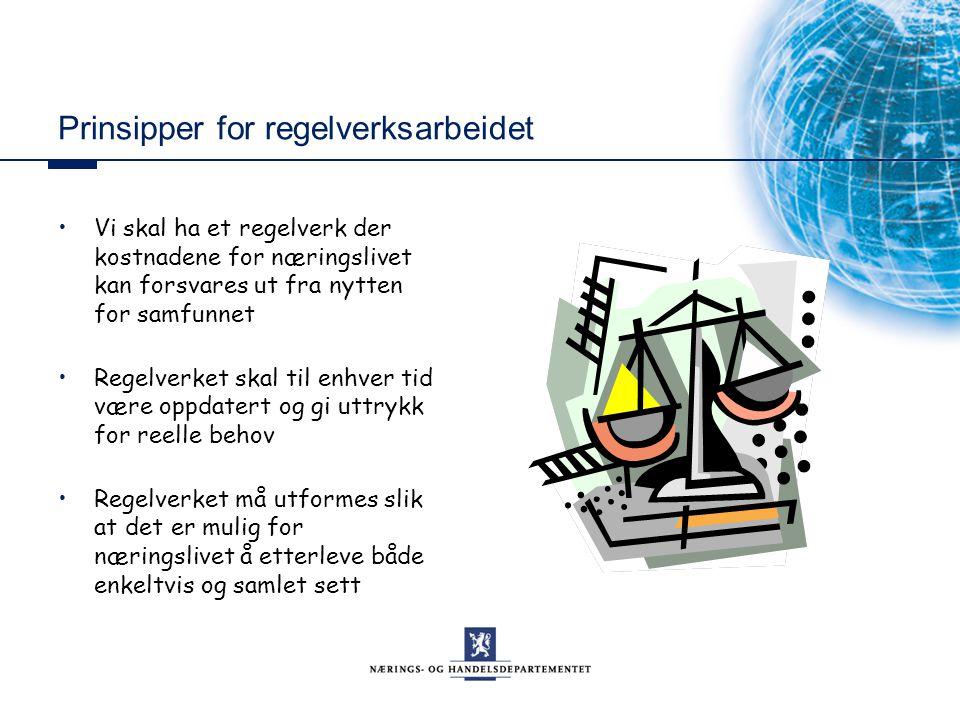 Prinsipper for regelverksarbeidet