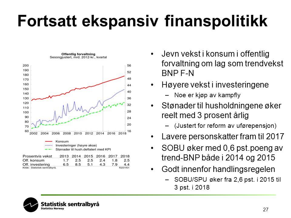 Fortsatt ekspansiv finanspolitikk