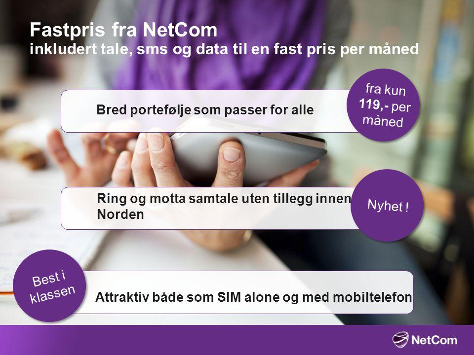 Fastpris fra NetCom inkludert tale, sms og data til en fast pris per måned