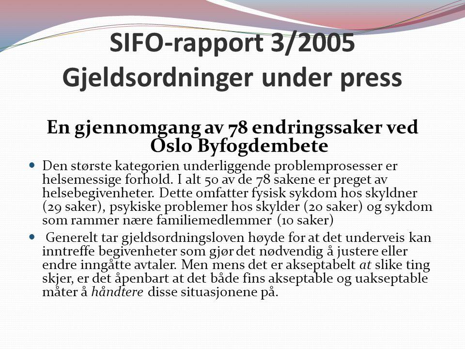 SIFO-rapport 3/2005 Gjeldsordninger under press