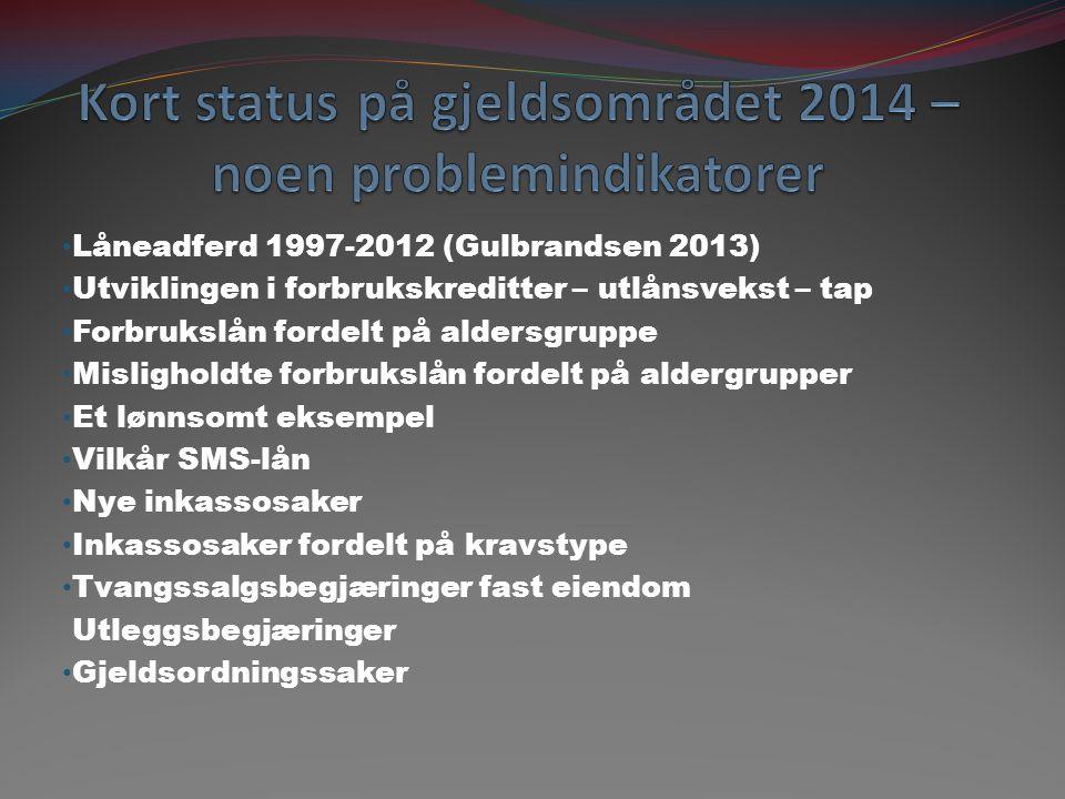 Kort status på gjeldsområdet 2014 – noen problemindikatorer