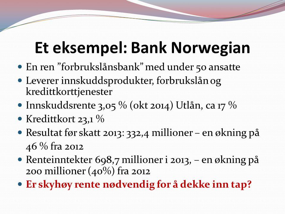 Et eksempel: Bank Norwegian