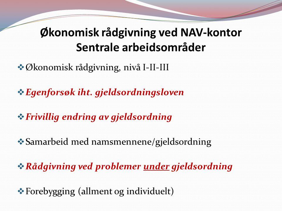 Økonomisk rådgivning ved NAV-kontor Sentrale arbeidsområder