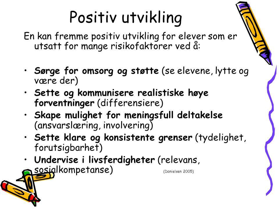 Positiv utvikling En kan fremme positiv utvikling for elever som er utsatt for mange risikofaktorer ved å: